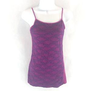 Rue21 Purple & Hot Pink Lace Tank Top M